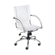 Safco 3456WHFlaunt Managers Chair - White Leather