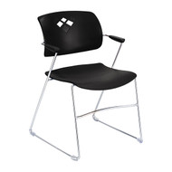 Safco4286BL  Veer Flex Frame Sled Base Stacking Chair - Carton of 4 - Black
