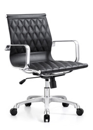 Woodstock Annie Mid Back Leather Chair - Black