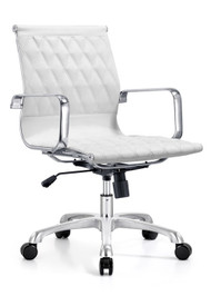 Woodstock Annie Mid Back Leather Chair - White