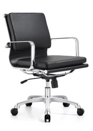 Woodstock Hendrix Mid Back Leather Chair - Black