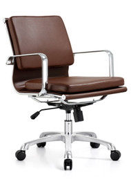 Woodstock Hendrix Mid Back Leather Chair - Brown