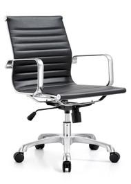 Woodstock Joplin Mid Back Leather Chair - Black