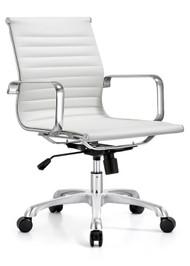 Woodstock Joplin Mid Back Leather Chair - White
