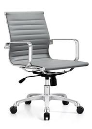 Woodstock Joplin Mid Back Leather Chair - Gray