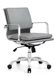 Woodstock Hendrix Mid Back Leather Chair - Gray