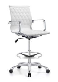 Woodstock Annie Mid Back Leather Stool - White