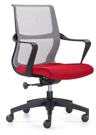 Woodstock Ravi Mid Back Mesh Task Chair - Gray Mesh Back / Red Seat