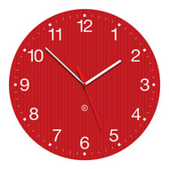 Peter Pepper GROOVY Round Wall Clock with a Red Face and White Numbering