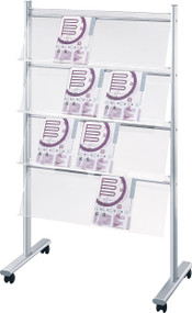 "Peter Pepper MR32 Mobile Magazine and Literature Rack - Double Sided 39"" Wide"
