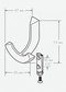 Technical Drawing for Schwinn Z093 Hook, Satin Nickel (UPC 4000918542032)
