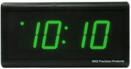 BRG Precision Products DuraTime HP425G high precision plug-in digital wall clock with a 4-digit 2.5-inch high green LED display.
