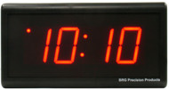 BRG Precision Products DuraTime HP425R high precision 110 VAC digital wall clock with a 4-digit 2.5-inch high red LED display.