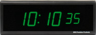 BRG Precision Products DuraTime HP625G high precision plug-in digital wall clock with a 6-digit 2.5-inch high green LED display.
