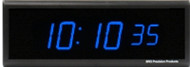 BRG Precision Products DuraTime HP625B high precision plug-in digital wall clock with a 6-digit 2.5-inch high blue LED display.