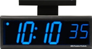 BRG Precision Products DuraTime HP640B-2SB double-sided ceiling or wall-mounted high precision plug-in digital clock with a 6-digit 4-inch high blue LED display.