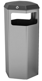 Peter Pepper 1007 HexBin Trash or Recycling 22 Gallon Receptacle - 2 Finishes