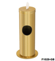 Glaro F1029GB and F1029GC Antibacterial Wipe Dispenser -Combination Floor Standing Unit with Side Opening for Trash - Gloss Brass or Gloss Chrome  Finish