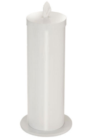 Glaro F1027-WH Antibacterial Wipe Dispenser -Floor Standing Unit with Storage for 2 Additional Wipe Rolls - White Finish