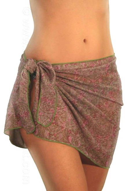 Tan through swimsuit wrap in pink Ethno print.