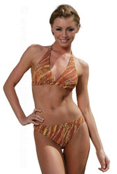 Halter style bikini set in brown Animal print.