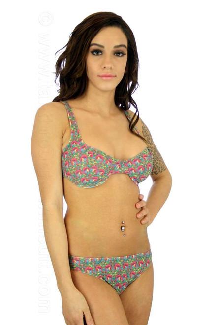 Model wearing C-D bra style underwire bikini top in pink Toucan print.