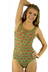 Traditional tank swimsuit in red Toucan print.