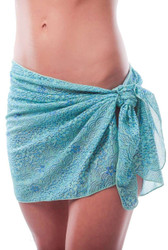Blue Floral Wave tan through sarong.