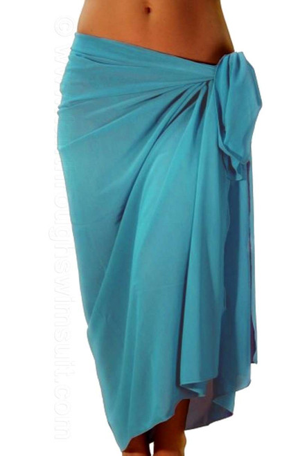 Solid aqua swimsuit coverup -- full length.