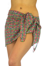 Sarong in tan through fabric and pink Toucan print.