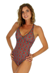 Adjustable crisscross strap structured tank in green Hibiscus print.