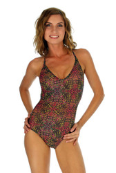 Pink Safari print on crisscross strap womens swimsuit.