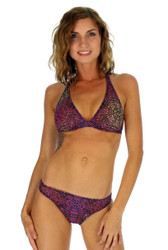 Front view of scrunch butt bikini bottom in purple Safari print.
