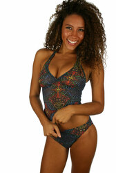 Front view--tan through tankini top in multicolor Safari print.