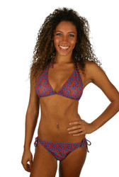 Tan through double string bottom in blue Hibiscus from Lifestyles Direct.
