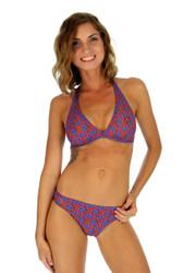 Sport halter separates bikini top in blue Hibiscus print.