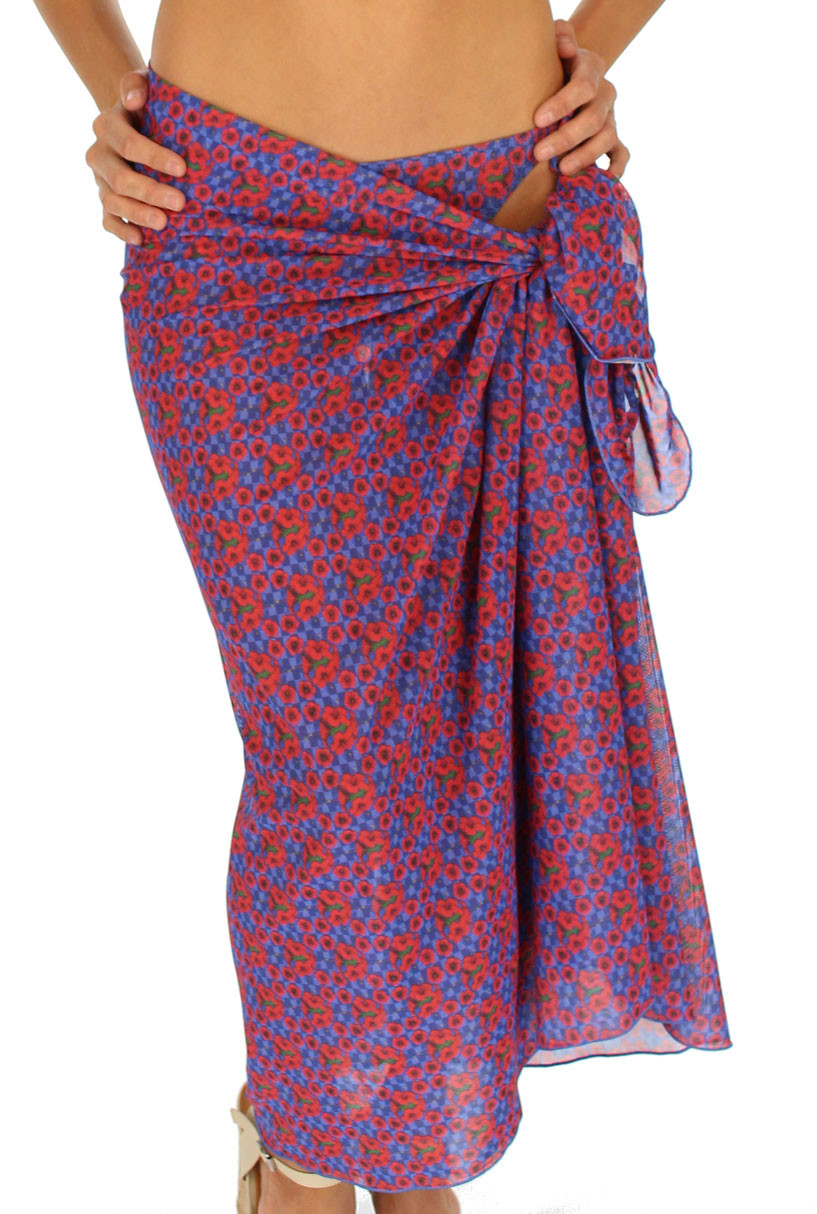 0d0e84f865 Full length swimsuit coverup in blue Hibiscus print.