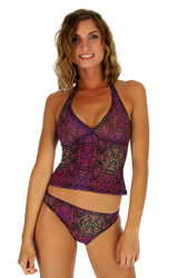 Tan through high waist bikini bottom in purple Safari.