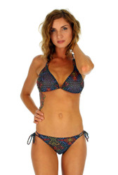 Double string tie bikini bottom in multicolor Safari print.