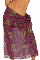 Purple Safari pareo swimsuit coverup.
