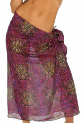 Purple Safari pareo swimsuit coverup.