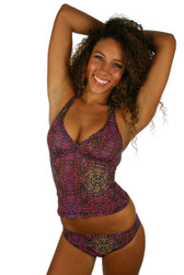 Tankini swimsuit top in purple Safari print.