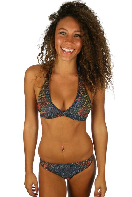 Tan through halter top in multicolor Safari print.
