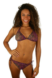 Tan through string bikini bottom in purple Safari.