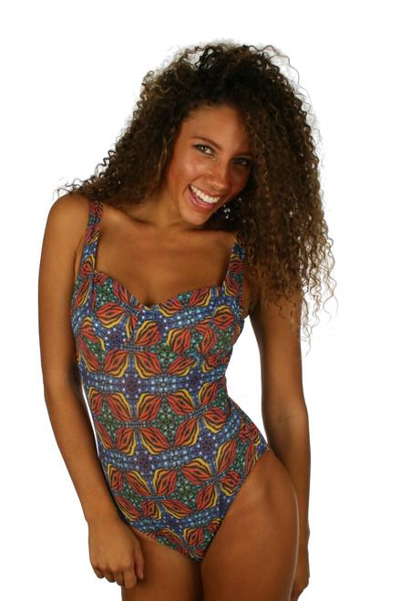 Tan through swimwear orange Heat underwire support swimsuit with CD cups.
