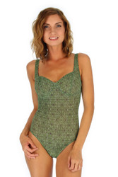 CD underwire cup tank swimsuit in green Caged print from Lifestyles Direct Tan Through Swimwear.