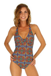 Orange Heat crisscross adjustable strap women's structured cup tank swimsuit from Lifestyles Direct Tan Through Swimwear.