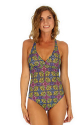 Tan through swimsuit with crisscross adjustable straps from Lifestyles Direct in green Heat print.