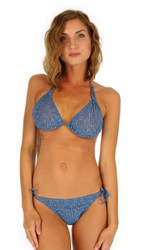 Blue Caged string bikini double tie top -- tan through
