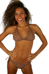 Brown Caged tan through string bikini top.